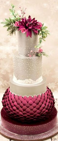 Ideas For Wedding Winter Cake Decoration Elegant Wedding Cakes, Elegant Cakes, Beautiful Wedding Cakes, Gorgeous Cakes, Wedding Cake Designs, Pretty Cakes, Amazing Cakes, Cake Wedding, Trendy Wedding