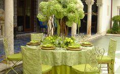 Green wedding reception decorations - hydrangeas