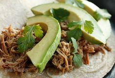 Slow Cooked Pork Carnitas (Mexican Pulled Pork) Low calories and it smells delicious. I am making it in the crockpot right now. Pork Recipes, Slow Cooker Recipes, Mexican Food Recipes, Crockpot Recipes, Dinner Recipes, Cooking Recipes, Healthy Recipes, Recipies, Delicious Recipes
