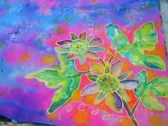 Passion Flower Silk Painting in progress by Marionette.  www.kauai-artist.net