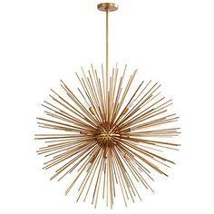 Restoration Warehouse Burnished Gold Leaf Pendant | Sputnik | Chandeliers | Lighting | Candelabra, Inc.