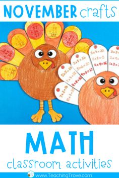 Math crafts and activities are an engaging way for your students to practice their math skills. This November themed pack allows you to differentiate math activities so your students can work on their addition, subtraction and multiplication facts or consolidate adding and subtracting two or three digit numbers - whichever concept they need more practice with. Your class will be so motivated to complete these fun math activities they won't even realize they're doing work!