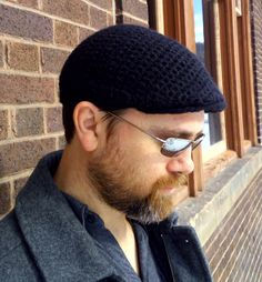 Flat Cap - Crocheted black in a sumptuous blend of Royal Alpaca, Merino and Polyamide by ElevatedFibers on Etsy