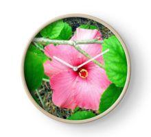 Pink Hibiscus Flower , Peeking Through The Leaves. Clock