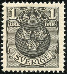 """Sweden  1911 Scott 67 1ö black """"Arms"""" Watermark 180: """"Crown"""""""