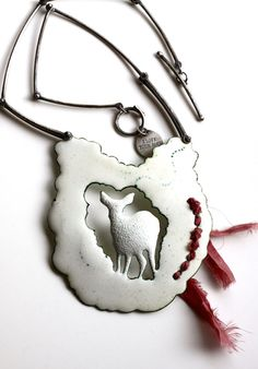 The Quiet Ones Neckpiece  A Doe In Snow by thenoisyplume on Etsy, $900.00