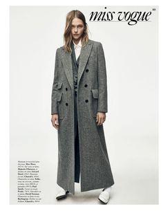 Sasha Pivovarova poses in menswear inspired looks for Vogue Magazine Paris November 2016 issue