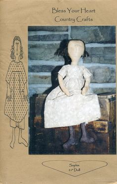 """FREE US SHIP Bless Your Heart Country Crafts 21"""" Doll Sophie Primitive Folk Art Uncut New Old Store Stock Sewing Pattern Ragdoll cloth by LanetzLivingPatterns on Etsy"""