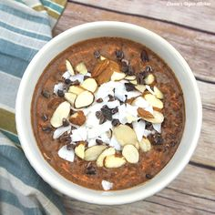Chocolate, almonds, and coconut come together deliciously in this Almond Joy Chia Pudding, which is perfect for both breakfast and dessert!