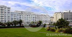 Modern apartments in Eastbourne with palms and lawns in the forefront and a view of the sea.