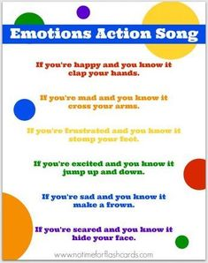 Emotions Song for Preschool with Free Lyrics Printable - No Time For Flash Cards - emotions - emotions-action-song-printable-no-time-for-flash-cards - Feelings Preschool, Preschool Songs, Preschool Lessons, Kids Songs, Circle Time Ideas For Preschool, Action Songs For Preschoolers, Movement Songs For Preschool, Transition Songs For Preschool, Toddler Circle Time