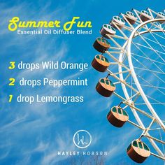 Who's ready for summer?! This Summer Fun essential oil diffuser blend will make it feel like summer, even if the weather is not yet cooperating where you are. Wild Orange protects against seasonal and environmental threats while uplifting the mind and body with its fresh citrus scent. Peppermint promotes healthy respiratory function and clear breathing and repels bugs naturally. Lemongrass's smokey citrus aroma will heighten awareness and promote a positive outlook. www.hayleyhobson.com