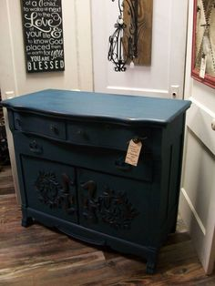 "Antique Dresser or Buffet painted with Debi's Design DIY chalk type paint ""Bohemian Blue"" with Hemp Oil finish"