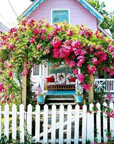 White Picket Fence and Pretty Floral Arbor