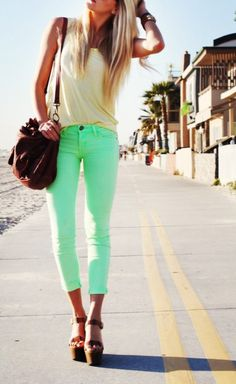 Cream tank with mint green skinny jeans, brown wedges, and brown leather purse