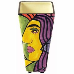 "Muzeum Designer Modern Art Handpainted Decorative Vase by Prosperity Tree by Prosperity Tree. $39.97. Muzeum is an original design from American artists, Steven McGovney & Tammy Camerot; the style reminds us a lot of Picasso!. Beautifully glazed ceramic vase stands 8 3/4"" tall and is footed with 4 small feet. 8 3/4"" tall, 4 1/4"" across top, 2 5/8"" across square base. The Muzeum Collection has been discontinued and is now hard to find - makes an impressive gift. Rich, vibra..."