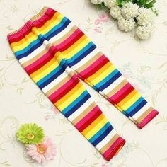 Baby Children Fleece Warm Rainbow Stripe Leggings Tights Pants