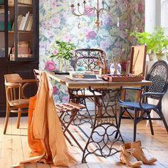 mesas modernas con bases de MAQUINA DE COSER COCINA O LIVING CON UN CAÑO LARGO PARA SOSTENER LAS 2 PARTES