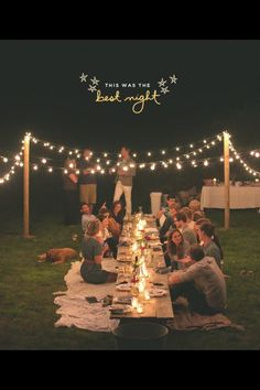 Greatest outdoor party setting! Love the blanket seating and lights