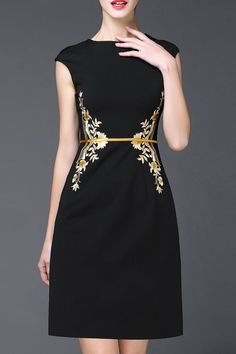 cap sleeve embroidered dress #workstyle