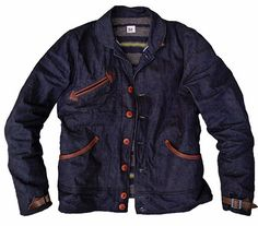 """Mister Freedom Drover Blouse Denim PATTERN: An original MFSC pattern, introduced as the """"Blouse Chaparral"""" and inspired by 1920′s~30′s sport type jackets, leather A-1 type coats, early Chimayo jackets… FABRIC: NOS Denim: Vintage dark indigo new old stock American milled denim, sanforized, white with black line selvedge ID, 3×1 twill, about 12 Oz. Designed in California by Mister Freedom® and manufactured in Japan by Sugar Cane Co under our MFSC® collaboration. Limited Edition."""