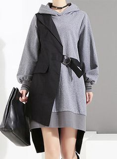Stylish Stitching Hooded Asymmetric Dress With Belt Fashion Wear, Look Fashion, Fashion Outfits, Fashion Design, Stylish Dress Book, Stylish Dresses, Edgy Outfits, Pretty Outfits, Baggy Dresses