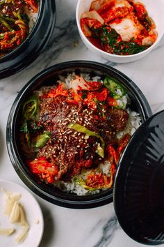Bulgogi Bowls, by thewoksoflife.com, the beef looks amazing, would probably make with more veggies
