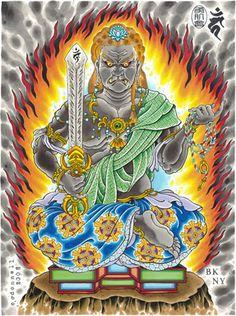 FudoDimensions Dynamic Range (HDR) PigmentsPrinted on Cotton Rag Traditional Japanese Tattoo Designs, Japanese Design, Japanese Art, Irezumi, Thangka Painting, Tatoo Designs, Japanese Tattoo Art, Buddhists, Space Pirate