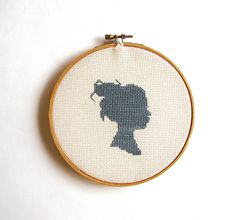 Cross-stitched silhouette