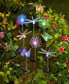 add extra lighting to your garden with this solar lighted stake set each stake lights up in a different color