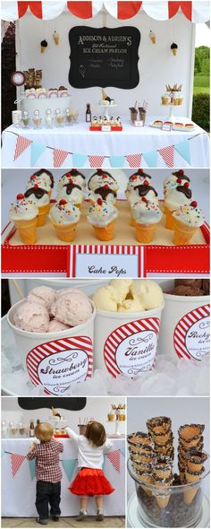 DIY Ice Cream Parlor birthday party...everything is homemade from the awning to the treats.