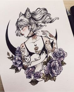 "3,989 Likes, 35 Comments - Addicted To ☕️. (@peithedragon) on Instagram: ""Drawing tattooed girls is addictive :>"""