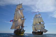 Frigate Shtandart and brig La Grace sailing alongside right after the stunning gunfire.