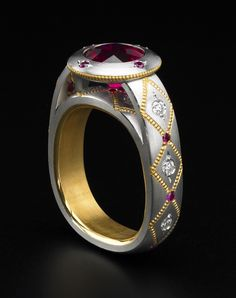 Zoltan David  Ruby set in Platinum with 22K Gold Inlay and Insleeve Ring