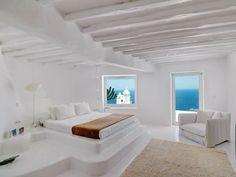 White Luxury house in Mykonos, Greece 05 Coastal Bedrooms, Luxurious Bedrooms, Modern Bedroom, Bedroom Decor, Bedroom Ideas, Bedroom Interiors, Home Interior, Interior And Exterior, Interior Design