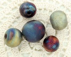 Satin Matte Raku Round Beads by elementspottery on Etsy, $10.00