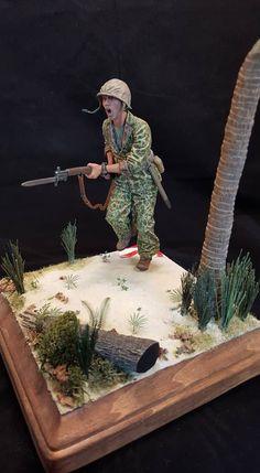Us Marines Uniform, 40k Armies, Lead Soldiers, Military Drawings, Military Action Figures, Anime Military, Iwo Jima, Military Diorama, Jungle Theme