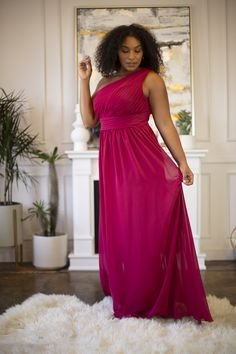 The one-shoulder design makes it easy for you to complete your bridesmaid duties while looking chic and fresh. Berry Bridesmaid Dresses, Bridesmaid Duties, Affordable Bridesmaid Dresses, Jordan Dress, Marry Me, Jordans, One Shoulder, Formal Dresses, Chic