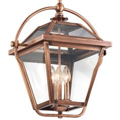 Needs Type B incandescent bulbs.  The inspiration for this pendant from the Ryegate collection in Antique Copper struck one of our designers was driving in an historic area of town: he spotted an old gas lantern, still in operation outside a century home. The result is this on-trend outdoors-in style. Position one over a table or blend several over a kitchen island for a delightfully updated effect.