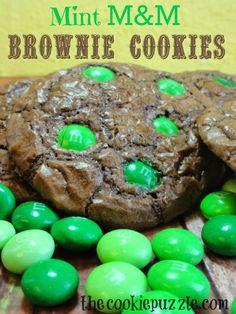 The Cookie Puzzle: Mint M&M Brownie Cookies