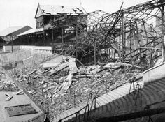Bramall Lane, home of Sheffield United, after being hit by a German bomb in 1941.