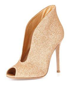 Gianvito Rossi Glittered U-Neck Peep-Toe Bootie Expensive Shoes c5be097de5c9