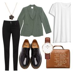 """school"" by chooseonecool ❤ liked on Polyvore featuring Armani Collezioni, Dr. Martens, Tory Burch, Daniel Wellington, school, blazer and monday"