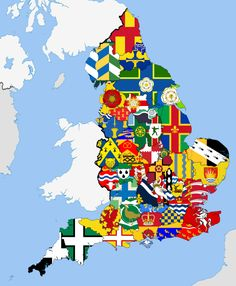 England with each county and it's flag.