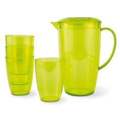 Jarra de 4 vasos de plástico translúcido.