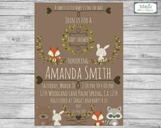 Woodland baby shower invitation, woodland baby shower invite, forest baby shower, baby shower invitation, baby boy invitation, woodland by MagicPartyDesigns on Etsy https://www.etsy.com/nz/listing/259375225/woodland-baby-shower-invitation-woodland
