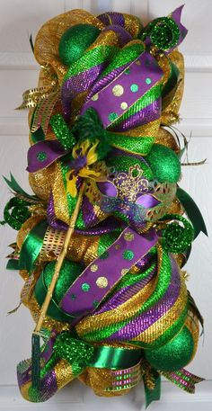 Hey, I found this really awesome Etsy listing at https://www.etsy.com/listing/259552597/mardi-gras-wreath-mardi-gras-swag-2016