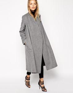ASOS Coat With Oversized Wrap Detail