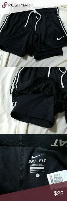 Nike Dri-FIT double layer Pro Combat performance s Black mesh, white stripes on the side, excellent condition Nike Shorts
