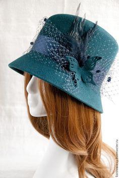"""Купить Фетровая шляпка-клош """"Бабетта"""" - морская волна, шляпка, женская шляпка, шляпка с вуалью"""